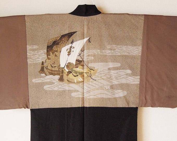 Vintage Japanese Men's Haori / Takarabune (treasure ship) / Kimono jacket / kimono