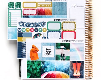 Rainy Days MINI Weekly Kit (stickers for Erin Condren Life Planner - Vertical)