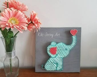 elephant string art, baby elephant, nursery decor, elephant nursery string art, baby shower gift, elephant nursery decor, baby room