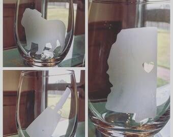 State of Mississippi Barware; University of Mississippi Glasses; Mississippi State Etching; Ole Miss; Bulldogs; Rebels; Blackbears Glassware