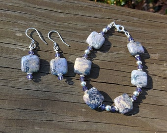 Pastel Dumotierite, Swarovski Crystal, sterling silver earring and bracelet set; genuine gemstone; sterling silver jewelry; gifts for her