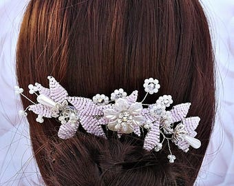 Blush pink hair comb, pearl hair comb, bridal hair comb, wedding hair comb, hair accessories, bridal headpiece, bridal accessories