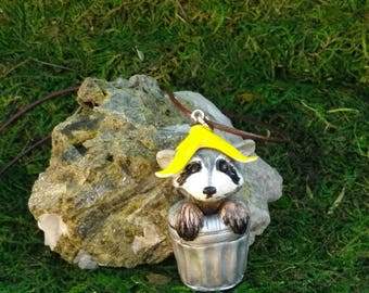 Trash panda, adorable raccoon in a trash can pendant, necklace, charm