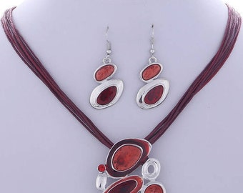 Jewelry Set Pendant necklace Leather Rope Chain earrings Set