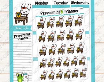Jelly Bean opening her bunny butt mail --- hand drawn --- planner stickers --- 232