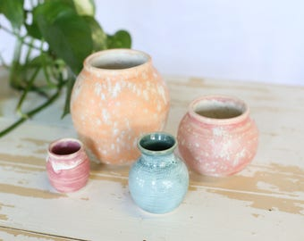Small Handmade Pottery Vase/Orange Stoneware Vase/Green Pottery Vase/Toothpick Holder/Pink Pottery Vase/Orange Pottery Vase/Vase Pottery