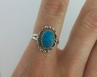 Vintage 1970s Natural Turquoise Sterling Silver Ring, Sz 7