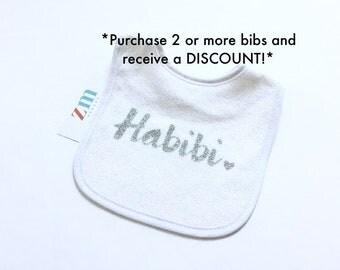 Habibi Habibti baby bib, heart, Islamic, Muslim, cute baby boy girl, teething wipe burp cloth, towel, baby shower birthday gift, cute outfit