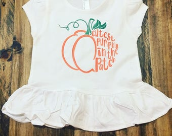Cutest Pumpkin In The Patch Toddler Ruffle Tee (Rabbit Skins)