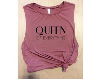 queen of everything pink workout tank, yoga tank, women's tank top, women's workout tank, muscle tee, girl boss, gym tank,cute workout shirt