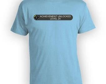 25th Birthday Shirt Bday Gifts For Gamers T Shirt Custom Age Birthday Present Gaming TShirt Geek Clothing Nerd Mens Ladies Tee - BG522