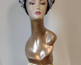 Black and Silver Visor Crown, Embellished Visor Crown, Silver Sequin Headdress, Queen Headpiece, Burning Man Headdress, Festival Headpiece