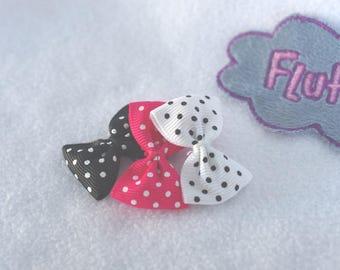 15 bows 4 cm black, Fuchsia and White - Ribbon bows grosgrain polka dots - assortment of small bowties with polka dots