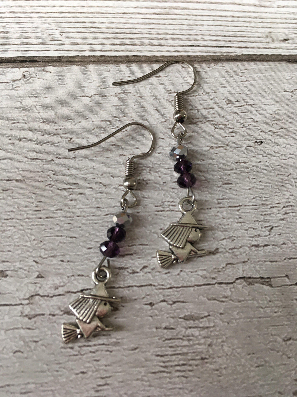 Witch earrings halloween earrings costume jewellery gothic earrings alternative earrings purple & Witch earrings halloween earrings costume jewellery gothic ...