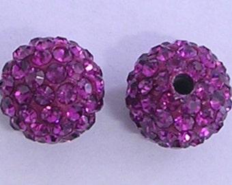 10 Fuchsia Quality Pave Rhinestone Disco Balls 8mm 10mm 12mm Shamballa Beads