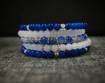 Blue and White Memory Wire Bracelet