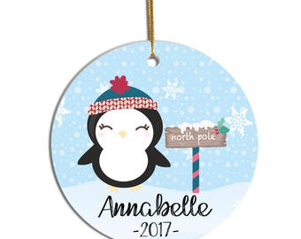 Personalized Ornament, Christmas Ornament, Kids Ornament, Ornament for Child, Baby Ornament, Custom Ornament, New Baby Ornament, Penguin