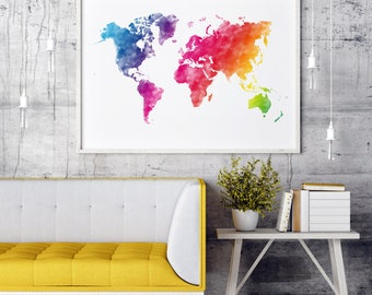Rainbow Watercolor World Map, Rainbow World Map Rainbow, Colorful World Map Print, Colorful World Map Colorful, World Map Wall Art