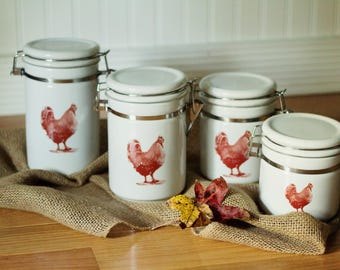 Rustic Rooster Kitchen Canisters, Ceramic Canisters, Chickens, Farmhouse  Kitchen, White And Red