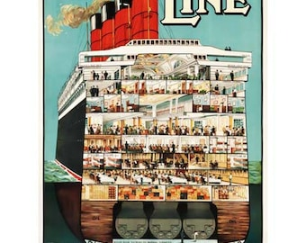 Cunard Line Poster Print Art - Vintage Print Art - Home Decor - Cruise Ship Art