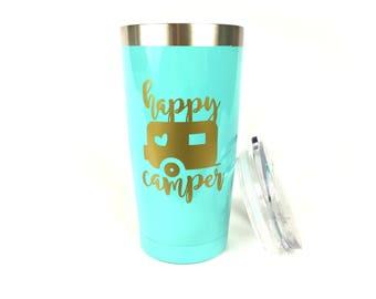 Camping Tumbler, Camping Mug, Happy Camper Mug, Camping Gift, Outdoor Lover Gift, Mint Tumbler, Insulated Tumbler,  Small Travel Mug,