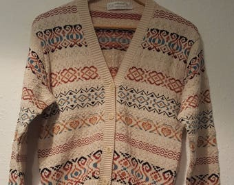 1980s St Michael cardigan•vintage cardigan•patterned cardigan•nordic style•UK 8/10•US 6/8