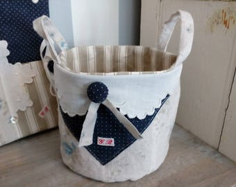 Small linen storage basket, vintage fabric and eyelet