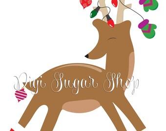 Christmas Reindeer Clipart Image - 1 Piece - Instant Download