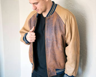 SALE - Vintage Leather Bomber Jacket