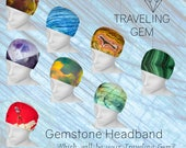 Gemstone Printed Headband/Gem Design Headscarf/Printed Gemstone Hair Accessory/Gemstone Attire/Crystal Print Headband/Rockhound Gift/Stones