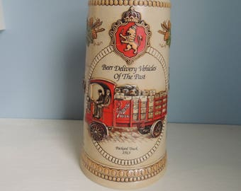 Large Stroh's Beer Stein,Vintage Stroh's Stein,Beer Delivery Vehicles of the Past,Stroh's Heritage Series V,Collectible Stroh's Beer Stein