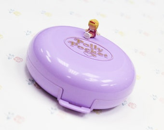 Vintage 90s Polly's Flat Polly Pocket Compact, Vintage Polly Pocket Toy for Little Girl, Miniature Doll Toys for Girls, Polly Pocket Playset