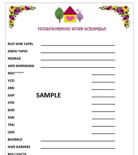 HOUSEWARMING PARTY Word Game Fun for kid and adults. Print