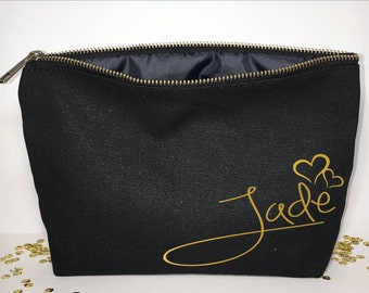 Personalized  Makeup bag - Bridesmaid makeup bag  - cosmetic bag- Bride makeup bag - Birthday gift - makeup bag - Canvas bags - Unique Gifts