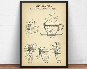 Tea Bag Tag Patent Print, Digital Download, Tea Poster, Kitchen Wall Art, Tea Addict Gifts, Vintage Tea Bag, Tea Cafe Decor, Tea Art Print