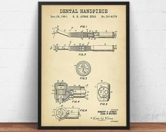 Dental Patent Prints, Dental Hand Piece Blueprint Art, INSTANT DOWNLOAD, Dental Poster Art, Dentist Gifts, Dentistry, Dental Office Decor