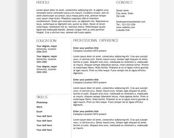 "Resume template 4 page | CV template + cover letter for MS Word | Instant digital download | Professional template | ""Sandra"""