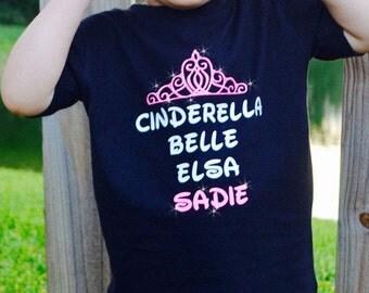 Personalized Disney Princess Shirt/custom Disney shirt/Cinderella, Belle, Elsa t-shirt