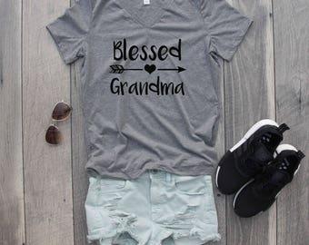 Blessed Grandma Relaxed Jersey V-Neck T-Shirt, Blessed Grandmother, Grandma Shirt, Grandmother Shirt