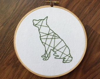 German Shepherd Embroidery Hoop
