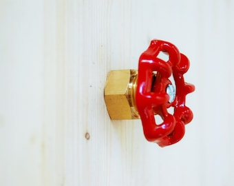 Handle button of furniture, door, drawer style industrial flying red and brass