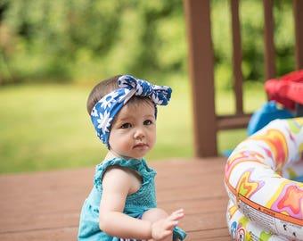 blue floral headband - baby headband - top knot headband - baby headwrap