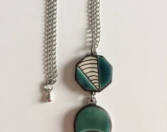 Necklace, long necklace, blue, green, graphic, ceramic, chain, blue, green, ceramic, graphic