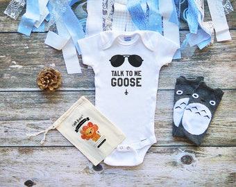 Talk To Me Goose Onesie - Top Gun Onesie - Funny Baby Shirt - Goose and Maverick Onesie - M331
