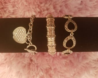 Retro 70s-80s Silver Bracelets and Charm Bracelet! Rhinestone Apple Charm Bracelet, Open Link Chain Bracelet, and A Stretch 80s Bracelet!