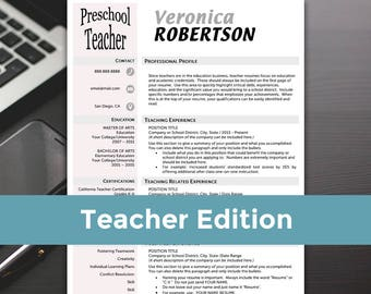 Teacher Resume - Teacher Resume Template, Word, Teacher Resume Cover Letter, Teaching Resume - RESUME TEMPLATE iNSTANT dOWNLOAD