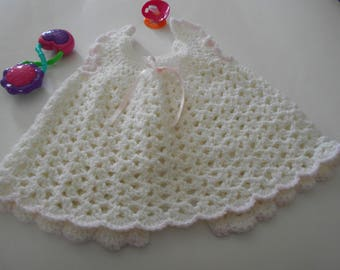 Crochet Baby Dress, Pinafore in Soft White,Trimmed with Pink Buttons and Pink Satin Ribbon size 3 to 6 Months