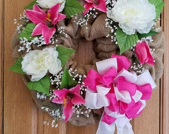 Burlap Floral Wreath, Front Door Wreath, Spring Wreath, Mother's Day Gift, Wall Decor, Pink and White Decor, Porch Wreath, Spring Decor