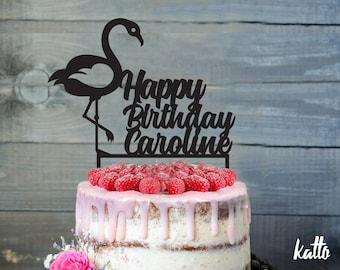 Flamingo Birthday Cake Topper-Customizable Birthday CakeTopper-Flamingo Cake Topper-Silhouette Flamingo Cake Topper-Personalized cake topper
