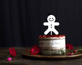 Christmas cake topper, Gingerbread Man cake Topper, Christmas Cookie cake topper, Winter Holiday Decor, Gingerbread Man Cupcake topper